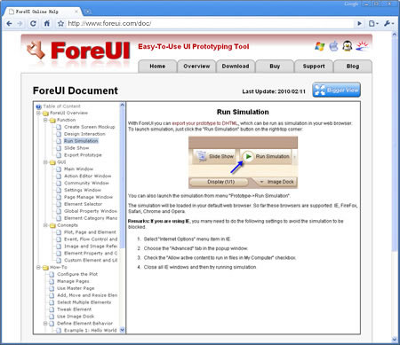 ForeUI Online Document
