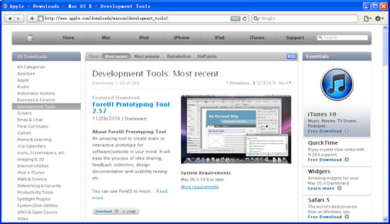 """ForeUI is Listed as """"Featured Download"""" in Apple.com"""